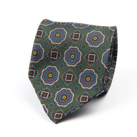 Cordone1956 - Necktie Mod. Ties 7 Fold - Fabric silk - Color Green/Azure