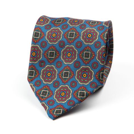Cordone1956 - Necktie Mod. Ties 7 Fold - Fabric silk - Color Azure/Red/Green