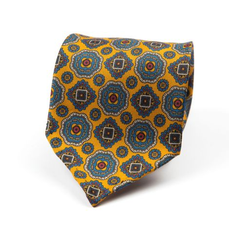 Cordone1956 - Necktie Mod. Ties 7 Fold - Fabric silk - Color Yellow/Azure