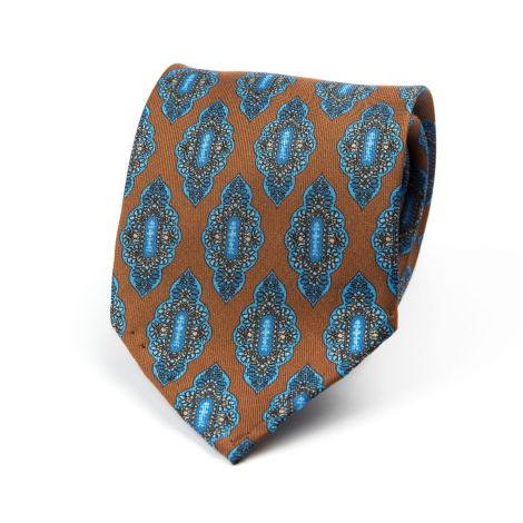Cordone1956 - Necktie Mod. Ties 7 Fold - Fabric silk - Color Brown/Azure