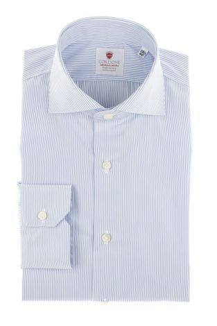 Cordone1956  - By-Hand Shirt   Mod. Micro Stripes Azure Easy Iron   - Made by: Handmade  - Type: business   - Made In Italy