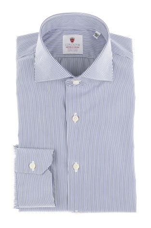 Cordone1956  - By-Hand Shirt   Mod. Micro Stripes Bluee Easy Iron   - Made by: Handmade  - Type: business   - Made In Italy