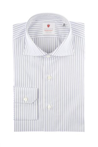 Cordone1956  - By-Hand Shirt   Mod. Ton Stripes Blue  - Made by: Handmade  - Type: business   - Made In Italy