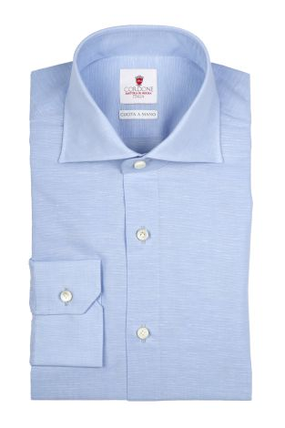 Cordone1956  - By-Hand Shirt   Mod. Royale Voile Azure   - Made by: Handmade  - Type: casual   - Made In Italy