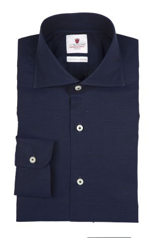 Cordone1956  - By-Hand Shirt   Mod. Royale Voile Bluee Navy   - Made by: Handmade  - Type: casual   - Made In Italy
