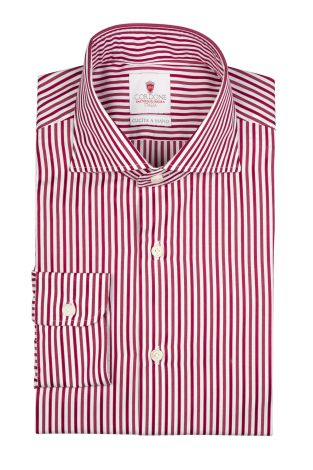 Cordone1956  - By-Hand Shirt   Mod. Bold Red Stripes   - Made by: Handmade  - Type: casual   - Made In Italy