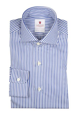 Cordone1956  - By-Hand Shirt   Mod. Bold Bluee Stripes   - Made by: Handmade  - Type: casual   - Made In Italy