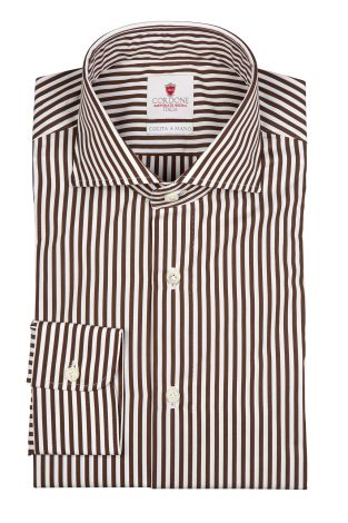 Cordone1956  - By-Hand Shirt   Mod. Dandy Brown Stripes   - Made by: Handmade  - Type: casual   - Made In Italy