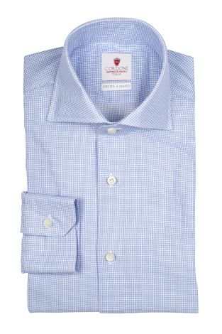 Cordone1956  - By-Hand Shirt   Mod. Reza Pied De Poule Azure   - Made by: Handmade  - Type: casual   - Made In Italy