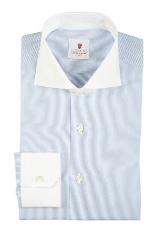 Cordone1956  - By-Hand Shirt   Mod. Dandy White Azure   - Made by: Handmade  - Type: business   - Made In Italy