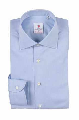 Cordone1956  - Classic Shirt Mod. First Azure   - Made by: Machine   - Type: business   - Made In Italy