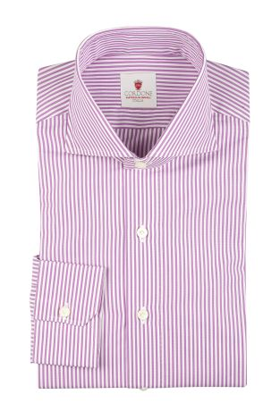 Cordone1956  - By-Hand Shirt   Mod. Dandy Stripes Lilac  - Made by: Handmade  - Type: business   - Made In Italy