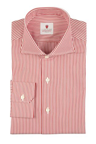 Cordone1956  - By-Hand Shirt   Mod. Dandy Stripes Red  - Made by: Handmade  - Type: business   - Made In Italy