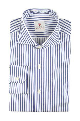 Cordone1956  - By-Hand Shirt   Mod. Cambridge Big Stripes Bluee  - Made by: Handmade  - Type: business   - Made In Italy