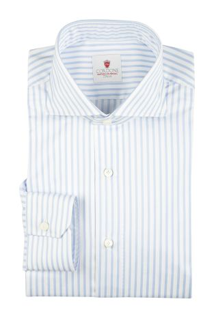 Cordone1956  - By-Hand Shirt   Mod. Cambridge Big Stripes Azure   - Made by: Handmade  - Type: business   - Made In Italy