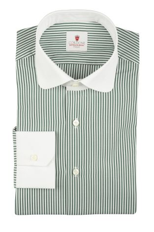 Cordone1956  - By-Hand Shirt   Mod. Dandy Green White   - Made by: Handmade  - Type: business   - Made In Italy