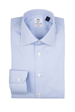 Cordone1956  - Classic Shirt Mod. Piquet Azure   - Made by: Machine   - Type: casual   - Made In Italy