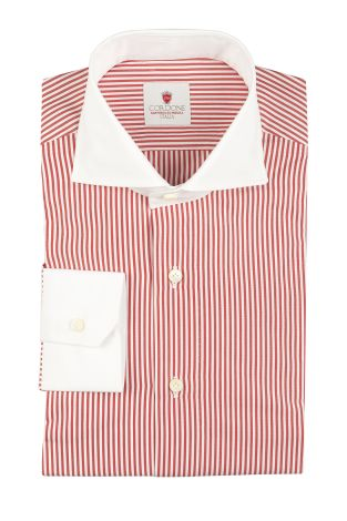 Cordone1956  - By-Hand Shirt   Mod. Dandy Red White   - Made by: Handmade  - Type: business   - Made In Italy