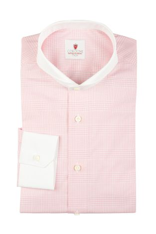 Cordone1956  - By-Hand Shirt   Mod. Pink Galles White   - Made by: Handmade  - Type: casual   - Made In Italy