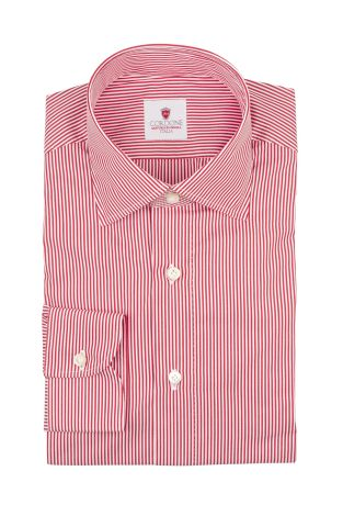 Cordone1956  - By-Hand Shirt   Mod. Micro Dandy Red   - Made by: Handmade  - Type: business   - Made In Italy