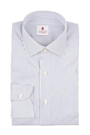 Cordone1956  - By-Hand Shirt   Mod. Pop Micro Stripes White Bluee  - Made by: Handmade  - Type: business   - Made In Italy