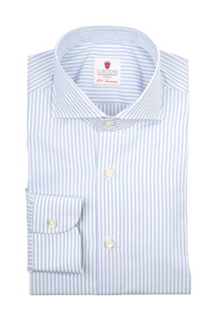 Cordone1956  - By-Hand Shirt   Mod. Dandy Azure Stripes   - Made by: Handmade  - Type: business   - Made In Italy
