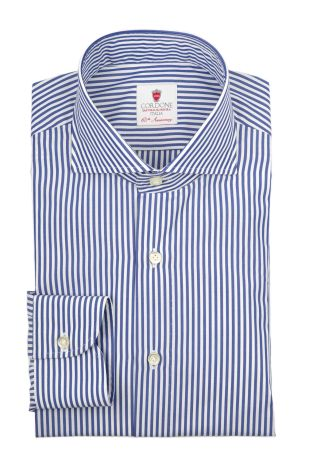 Cordone1956  - By-Hand Shirt   Mod. Dandy Bluee Stripes   - Made by: Handmade  - Type: business   - Made In Italy