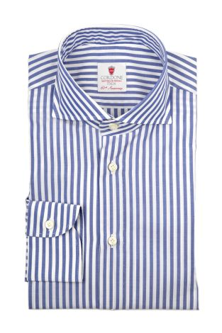 Cordone1956  - By-Hand Shirt   Mod. Dandy Bluee Big Stripes   - Made by: Handmade  - Type: business   - Made In Italy