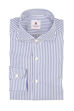 Cordone1956  - By-Hand Shirt   Mod. Pop BIg Stripes White Blue  - Made by: Handmade  - Type: business   - Made In Italy