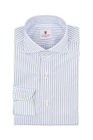 Cordone1956  - By-Hand Shirt   Mod. Pop Big Stripes White Azure   - Made by: Handmade  - Type: business   - Made In Italy