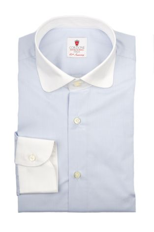 Cordone1956  - By-Hand Shirt   Mod. Voile Azure White   - Made by: Handmade  - Type: business   - Made In Italy