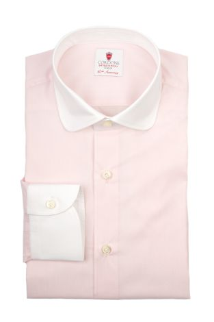 Cordone1956  - By-Hand Shirt   Mod. Voile Pink White   - Made by: Handmade  - Type: business   - Made In Italy