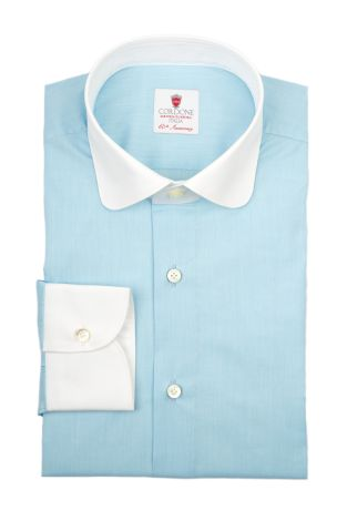 Cordone1956  - By-Hand Shirt   Mod. Voile Turquoise White   - Made by: Handmade  - Type: business   - Made In Italy