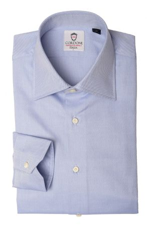 Cordone1956  - Classic Shirt Mod. Panama Light Bluee Cotton   - Made by: Machine   - Type: business   - Made In Italy
