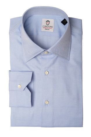 Cordone1956  - Classic Shirt Mod. Panama Azure Cotton Shirt  - Made by: Machine   - Type: business   - Made In Italy