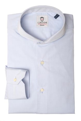Cordone1956  - Classic Shirt Mod. Pop Azure Cotton   - Made by: Machine   - Type: business   - Made In Italy