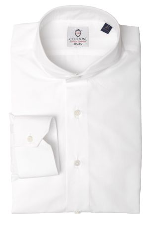 Cordone1956  - Classic Shirt Mod. Pop White Cotton   - Made by: Machine   - Type: business   - Made In Italy