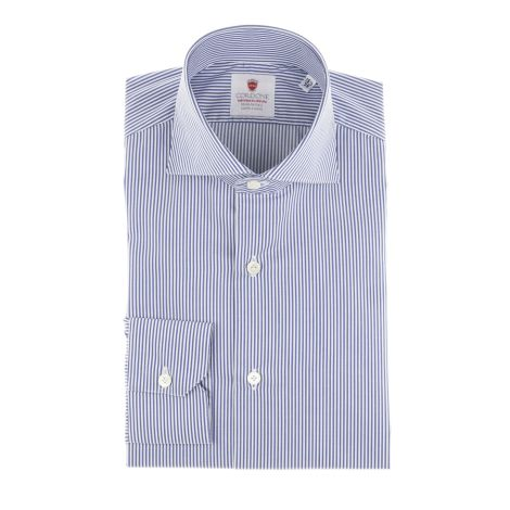 Cordone1956  - Classic Shirt Mod. White blue Easy Iron  - Made by: Machine   - Type: business  - Made In Italy
