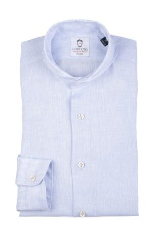 Cordone1956  - Shirt Linen  Mod. Linen Azure   - Made by: Machine    - Type: casual   - Made In Italy