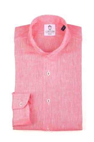 Cordone1956  - Shirt Linen  Mod. Linen Coral   - Made by: Machine    - Type: casual   - Made In Italy