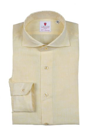 Cordone1956  - Shirt Linen  Mod. Linen Yellow   - Made by: Machine    - Type: casual   - Made In Italy