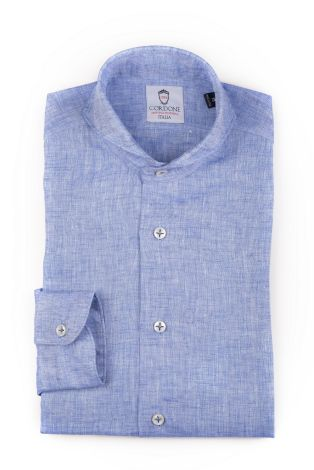 Cordone1956  - Shirt Linen  Mod. Linen Light Bluee  - Made by: Machine    - Type: casual   - Made In Italy