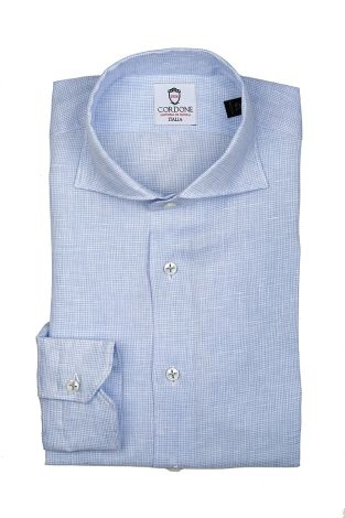 Cordone1956  - Shirt Linen  Mod. Linen Micro Check Azure   - Made by: Machine    - Type: casual   - Made In Italy