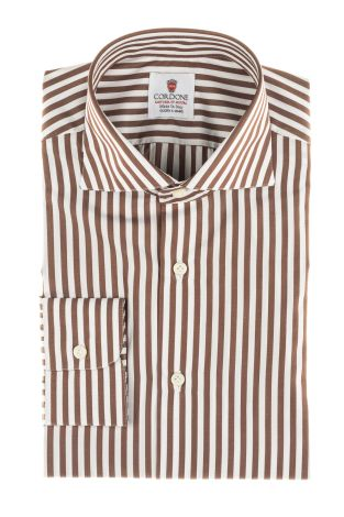 Cordone1956  - By-Hand Shirt   Mod. Supralux Alumo Brown   - Made by: Handmade  - Type: business   - Made In Italy