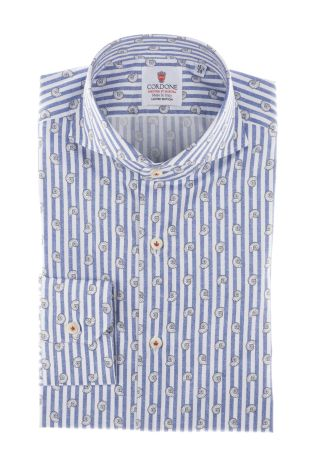 Cordone1956  - Shirt Limited Edition  Mod. White And Blue Cotton Printed Stripes   - Made by: Machine    - Type: casual   - Made In Italy
