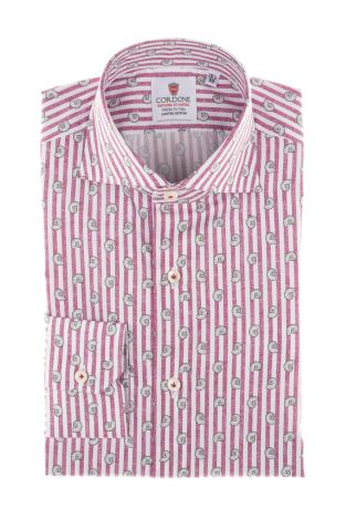 Cordone1956  - Shirt Limited Edition  Mod. White And Pink Cotton Printed Stripes    - Made by: Machine    - Type: casual   - Made In Italy