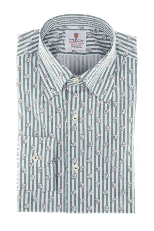 Cordone1956  - Shirt Limited Edition  Mod. White And Green Cotton Printed Stripes   - Made by: Machine    - Type: casual   - Made In Italy