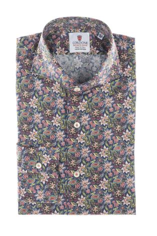 Cordone1956  - Limited Edition Shirt   Mod. blueee Flower Cotton Shirt  - Made by: Machine    - Type: casual   - Made In Italy