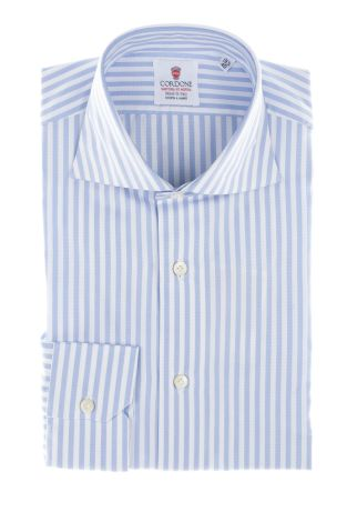 Cordone1956  - By-Hand Shirt   Mod. Big Oxford Stripes Azure   - Made by: Handmade  - Type: business  - Made In Italy