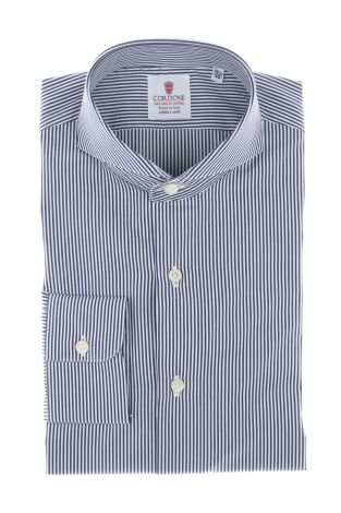 Cordone1956  - By-Hand Shirt   Mod. Bluee and  White Popeline Micro Stripes   - Made by: Handmade  - Type: business  - Made In Italy